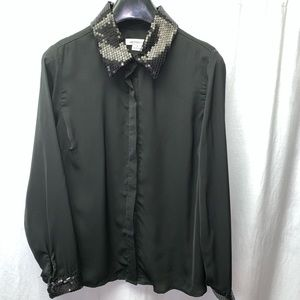 Liz Claiborne Black Blouse Sequin Trim Size Medium